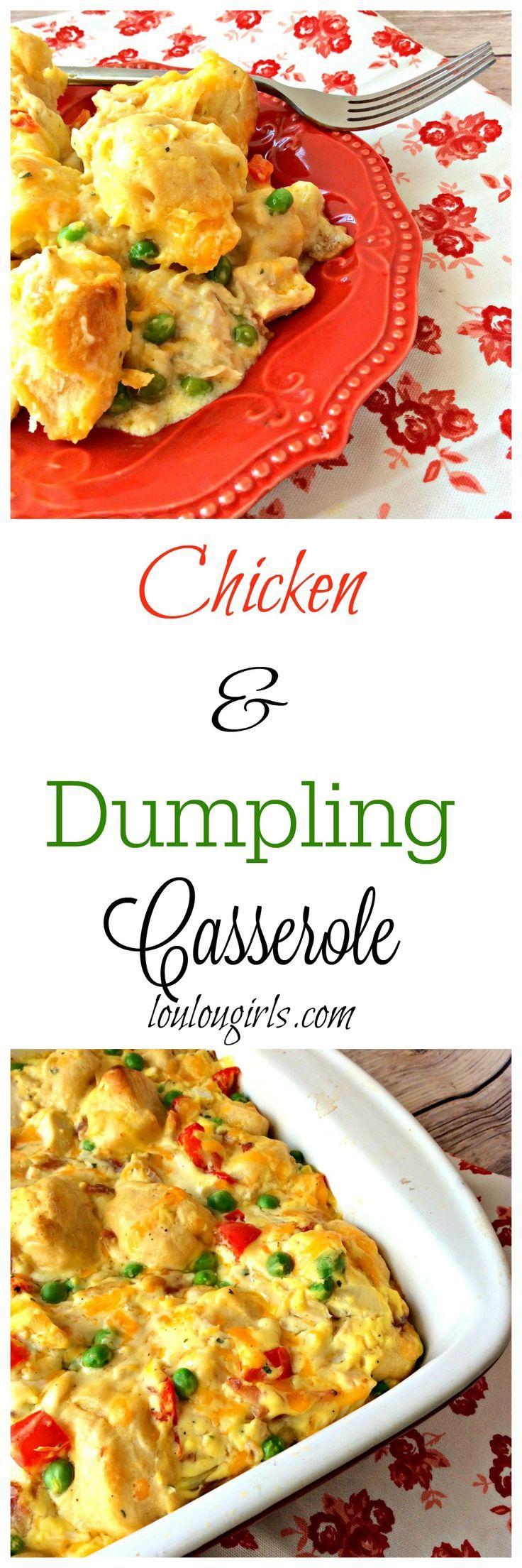 chicken and dumpling casserole collage