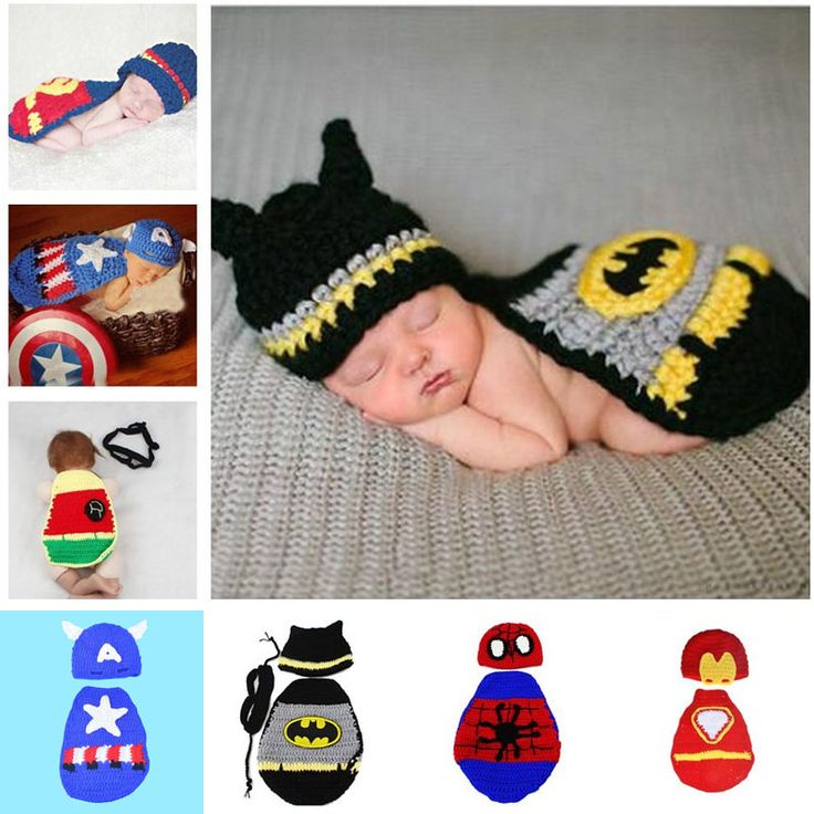 New Batman Photography Props Superman Spiderman Newborn Baby Costume Outfit Handmade Crochet Beanie Cap SG054