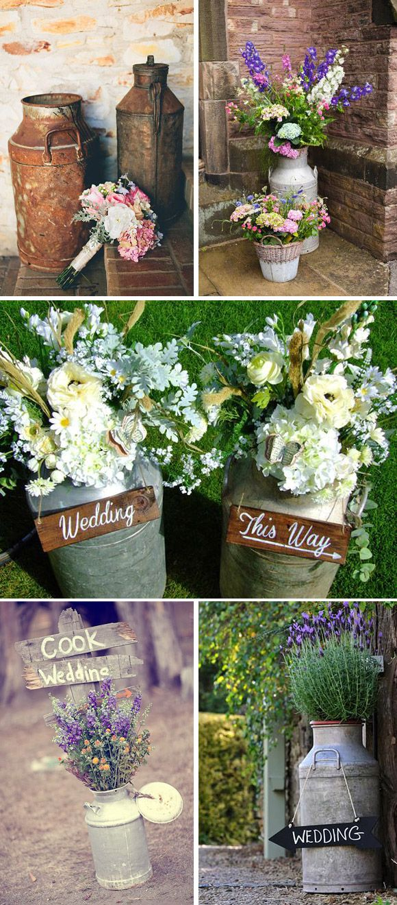 Lecheras vintage para decoración de bodas: Las lecheras son ideales para decorar bodas estilo rústico y bodas vintage. Toma nota de estas ideas.