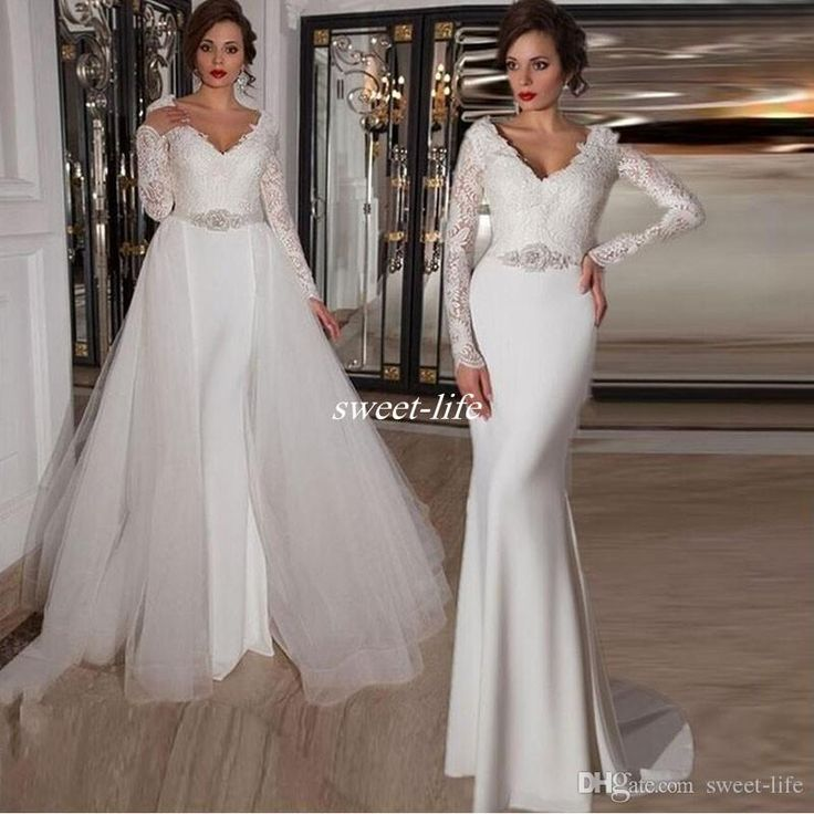 Two in One Wedding Dresses with Long Sleeve Detachable Train Tulle Crystals V Neck Floor Length 2016 Fall Winter Lace Bridal Wedding Gowns Online with $139.33/Piece on Sweet-life's Store   DHgate.com