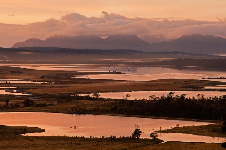 The Hazards loom over Moulting Lagoon on Tasmania's east coast