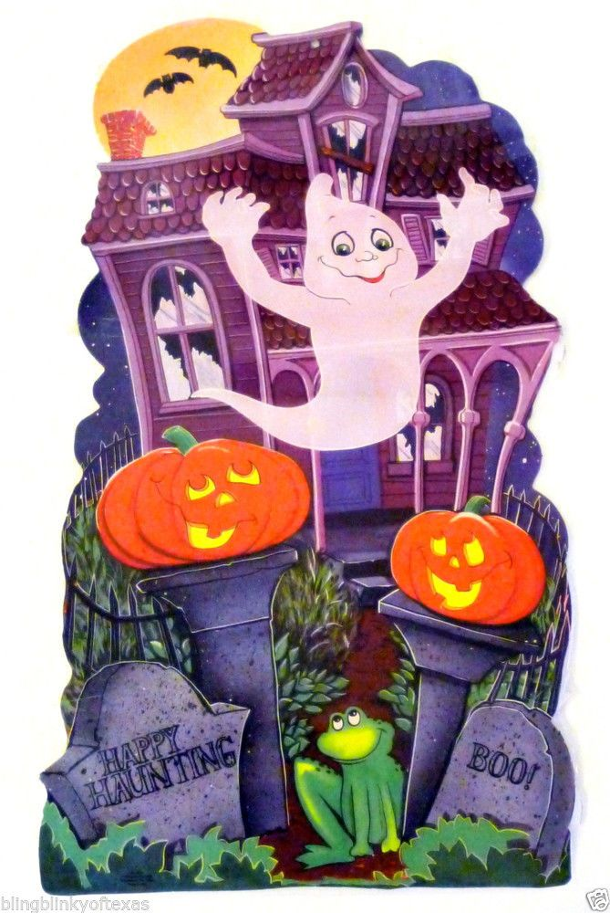1985 Halloween Haunted Spook House Boo Graveyard  Cut Out Vintage Party Time