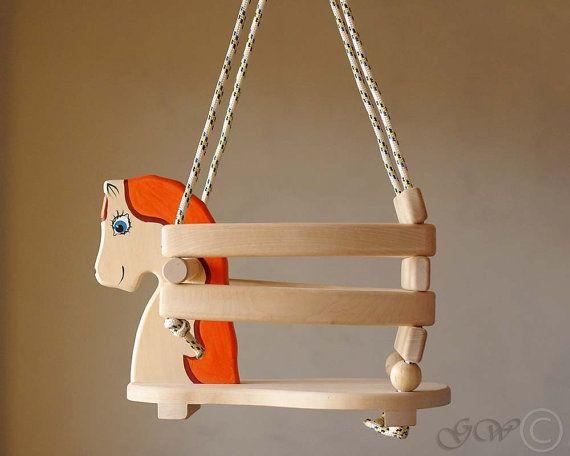 Wooden Handmade Horse Swing Baby Swing Handmade by GreenWoodLT, $66.00
