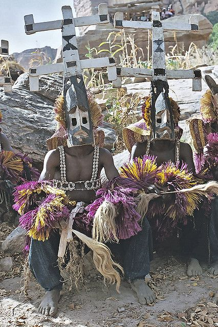 Africa | Kanaga masqueraders from the Dogon people of Mali | ©Frans Devriese