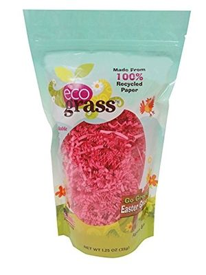 Traditional petroleum-based Easter grass generates tons of emission and landfill waste each year. If everyone switched to eco grass we'd greatly reduce our carbon footprint. eco grass is made in the USA. It is available in a 1.25 oz bag size that fills a standard-size Easter basket and comes in 3 colors: pink, yellow, and green. www.shophappymango.com