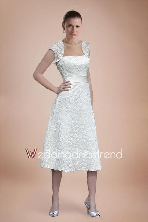Full Lace Tea-length A-line Wedding Dress with Delicate Sash