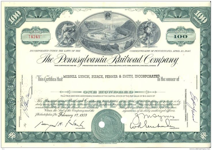 BOND SHARE STOCK CERTIFICATE PENNSYLVANIA RAILROAD COMPANY 100   Printable  Stock Certificates  Printable Stock Certificates
