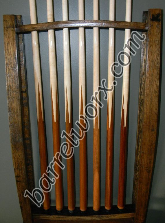 Whiskey barrel stave pool cue rack for Cue rack plans