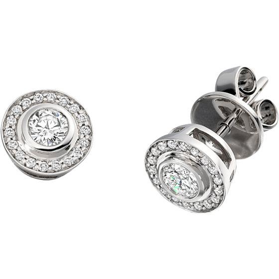 Cercei Aur Alb 18kt cu Diamante Rotund Briliant in Setare Rub-Over & Gheare