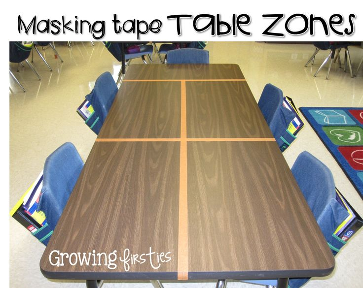 If you have tables instead of desks, you might need to create masking tape zones to teach little ones about personal space!