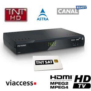 metronic - terminal numérique tntsat hd  canalready avec carte viaccess tnt (valable 4 ans) + cordon hdmi offert