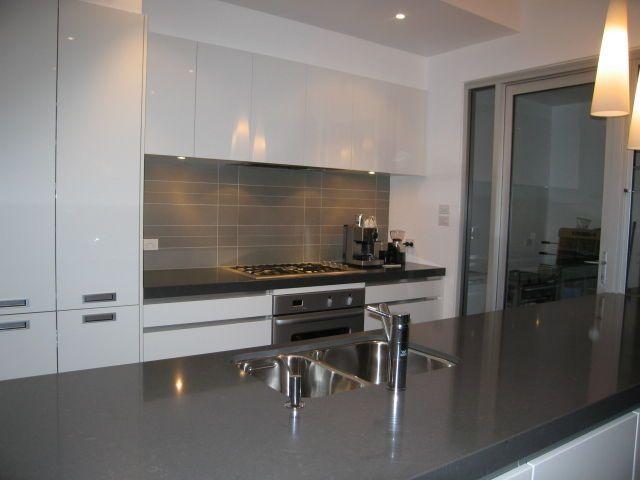 Grey Splashback White Kitchen Grey Bench New House