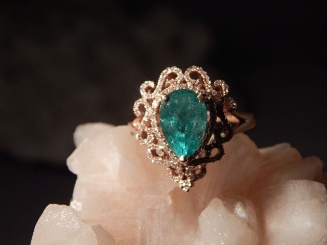 2.01 CT. Pear Columbian Emerald & Lacy Pave' Diamond Ring 14k Yellow Gold  #Unbranded #SolitairewithAccents #Special