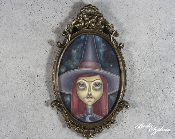 Witch portrait  original framed art  semi realist portrait, pop surrealism by bodaszilvia on etsy
