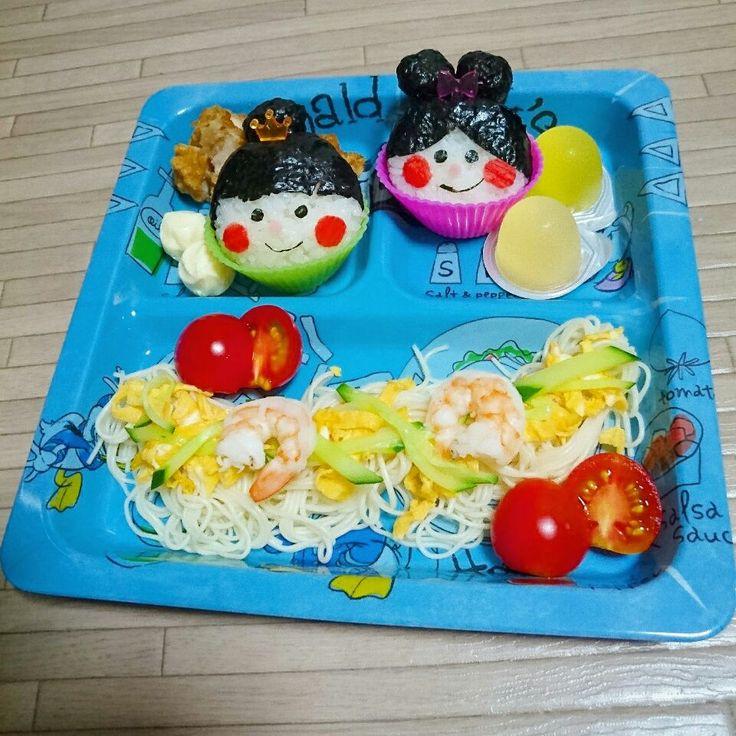 ちゃき's dish photo 七夕スペシャルプレート | http://snapdish.co #SnapDish #サマーバレンタインデー(7月7日) #キャラ弁 #キャラクター #そうめん #七夕