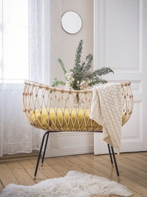 Prachtig Gemaakte Rotan Wieg Door Bermbach Handcrafted Babykamer