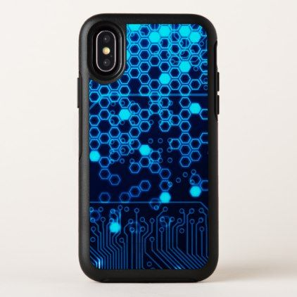 Cool Blue Electronic Circuit Board Hexagon Pattern iPhone X Case - cool gift idea unique present special diy