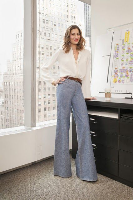 High waisted flare pants that fall straight from the hip = long legs! Finish with a white button down and slim belt :)