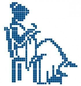 point de croix silhouette femme brodant - cross stitch stitching lady silhouette