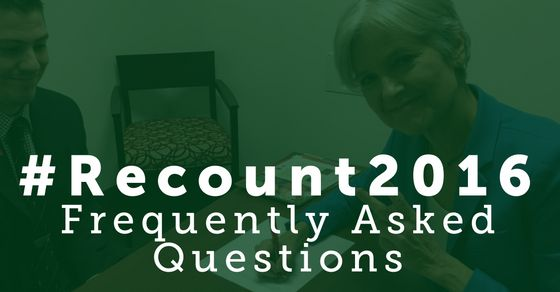 """""""Recount2016: Frequently Asked Questions"""" from the Stein/Baraka campaign's official site"""