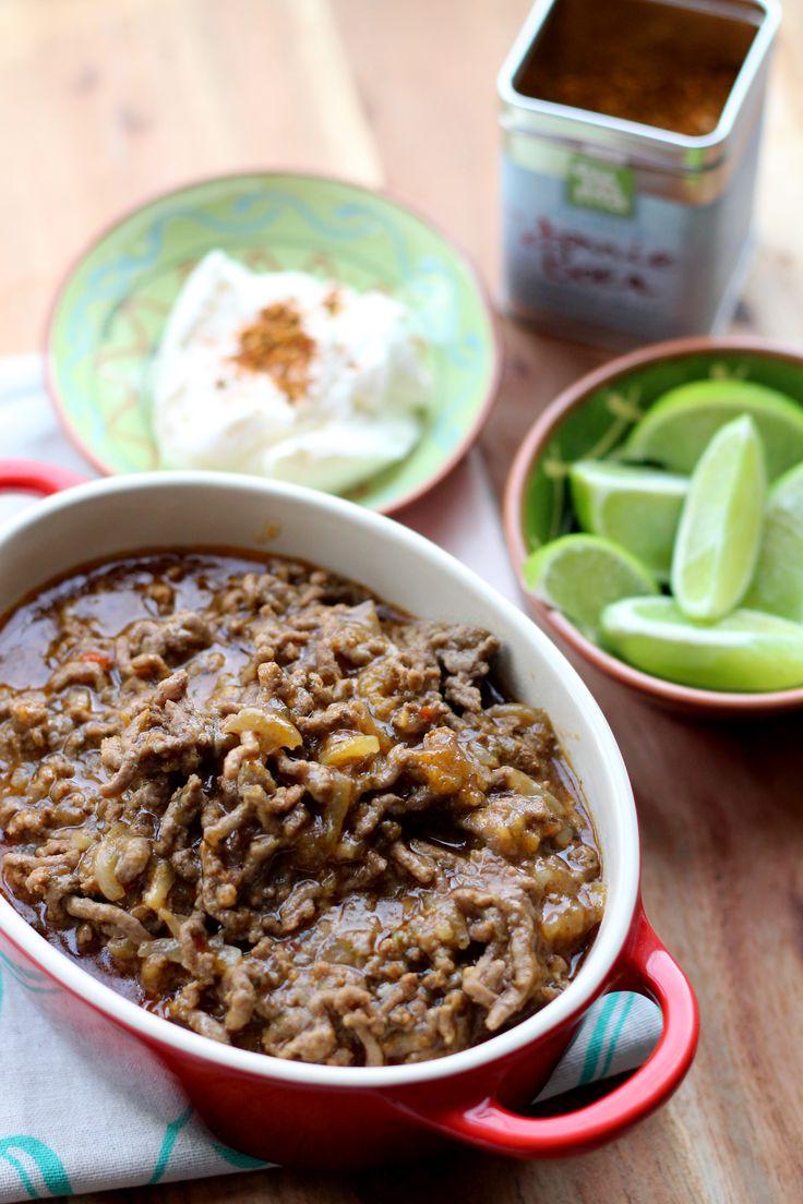 Een heerlijke, snelle chilischotel met rundergehakt en Original Spices Picadillo. Lekker met rijst of tortillachips.