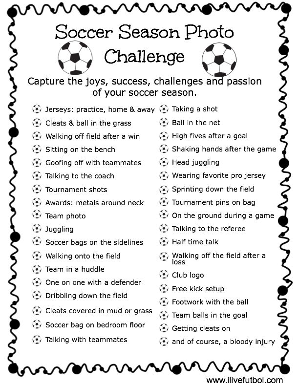 Soccer Season Photo Challenge- capture the magic and memories of your soccer season! www.ilivefutbol.com