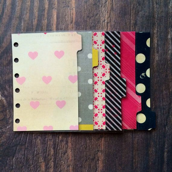 Pocket filofax dividers  by CharlottesWeb86 on Etsy, £6.50 (scrapbook paper laminated?)