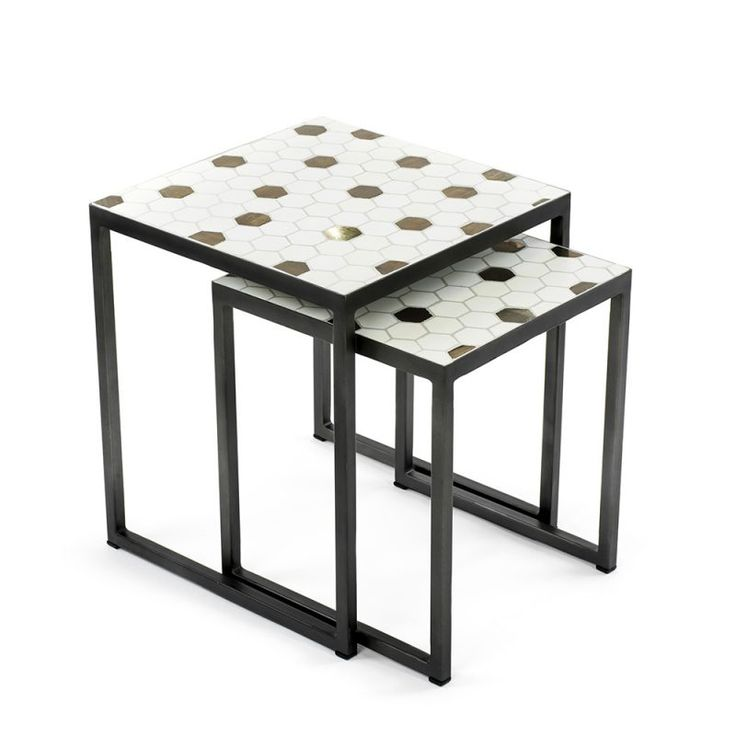 Mosaic Cement Tiles Monochrome  FSC tImber   Homweares Side Tables, decor, designer mosaic, contemporary mosaic.nesting set gold, golden, copper, honeycomb