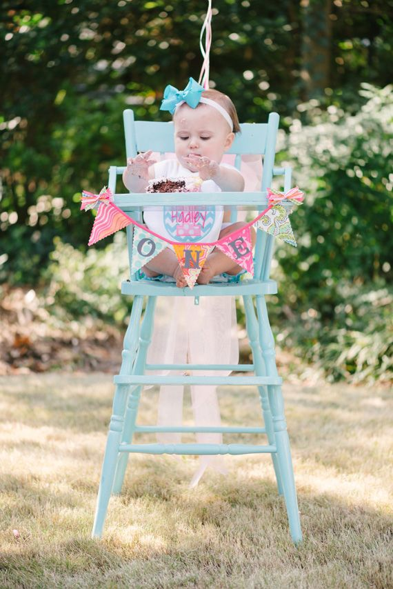 Must find old wooden high chair & paint it! @Millie Robertson Apparently, this is a popular trend!