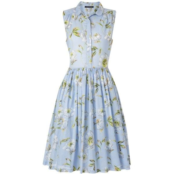Spring Bloom Flared Shirt Dress Woman (€72) ❤ liked on Polyvore featuring dresses, vestidos, floral print dress, blue fit-and-flare dresses, blue print dress, t-shirt dresses and floral shirt dress