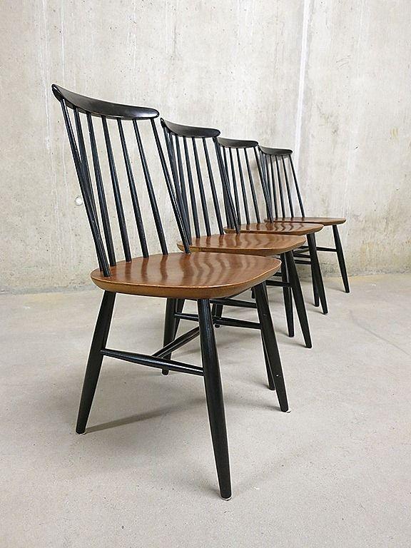 Vintage houten spijlenstoelen  spijlen stoel Deense stijl jaren 60
