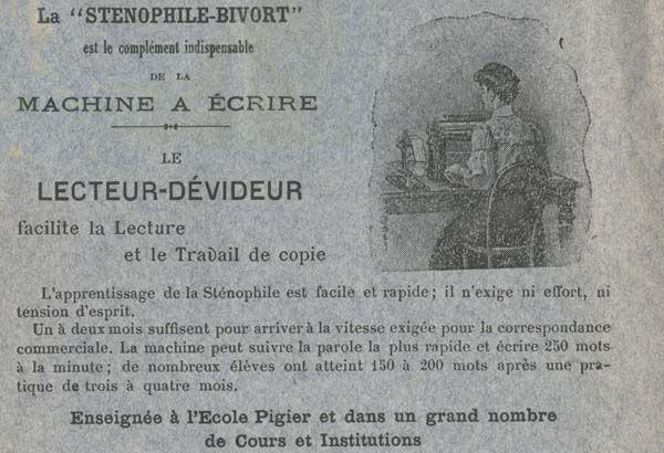 """La sténophile Bivort est le complément indispensable de la machine à écrire, """"Les machines à écrire et leur évolution"""", 1906, Bfm Limoges."""