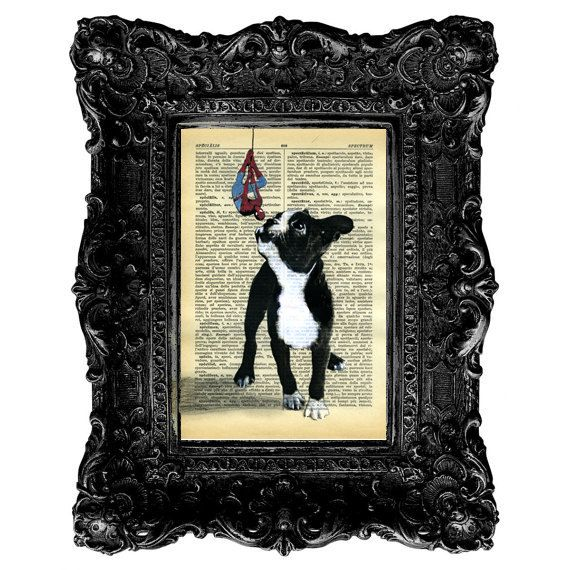 Original Painting Mixed Media  Spiderman Boston Terrier Dog - Illustration on Italian Vintage Paper Dictionary. $9.00, via Etsy.