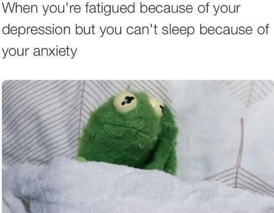 Kermit the Frog - ''When you're fatigued about you DEPRESSION, but you can't sleep because of your ANXIETY.'' source: Fsensitivity