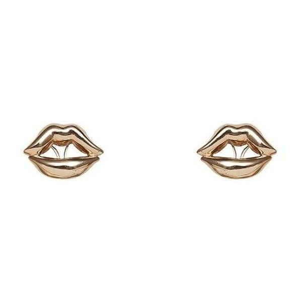 Bernard Delettrez Lips Earrings Bronze ($306) ❤ liked on Polyvore featuring jewelry, earrings, accessories, gold, lip jewelry, lip earrings jewelry, carved jewelry, earring jewelry and lip jewellery