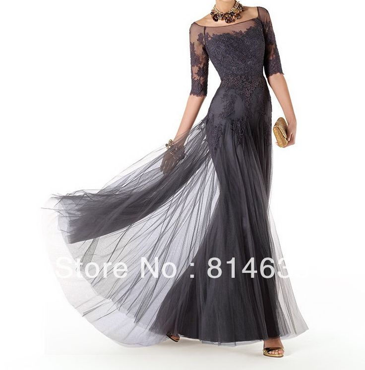 Free Shipping   Cheap  Long Floor Length Half Sleeve Black Lace Mother of the Bride Dress 2014-in Mother of the Bride Dresses from Apparel & Accessories on Aliexpress.com