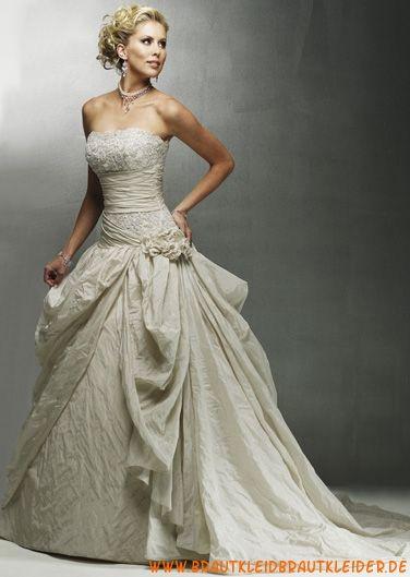 Günstiges Brautkleid A-Linie aus Taft für Prinzessin online 2012