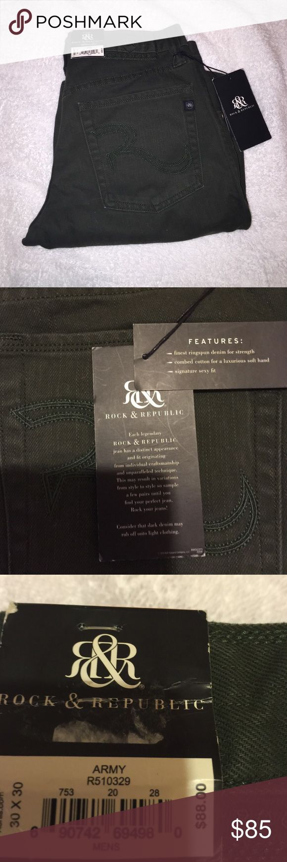 NWT R&R army green denim jeans 30X30 men's jeans. I didn't realize these were misplaced in the wrong dept. until I brought them home and didn't decide to wear months later. Retail $88. Need these out. Plz don't ask to model cuz these r men's n don't fit me well front curvy hip area. These are slim straight as stated on tags. Rock & Republic Jeans Straight Leg