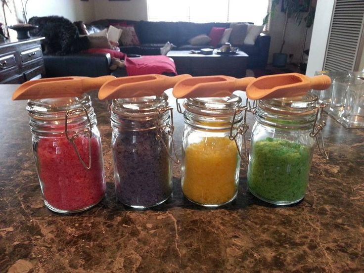Bath Salts in a Jar $8 each Website: www.purplebutterflydesigns42.weebly.com Facebook: www.facebook.com/purplebutterflydesigns90 Instagram: www.instagram.com/purplebutterflydesigns
