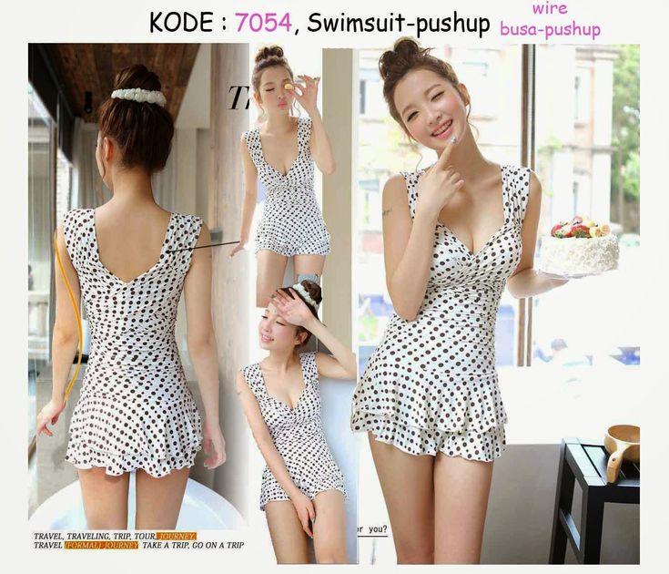 7054-240rb Jual swimsuit polkadot putih fashion korean