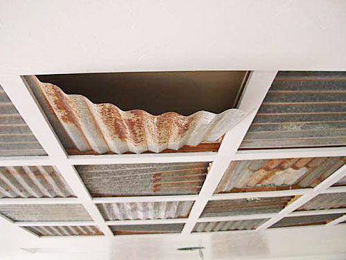 drop ceiling corrogated steel corrugated metal ceiling panels basement babes pinterest. Black Bedroom Furniture Sets. Home Design Ideas
