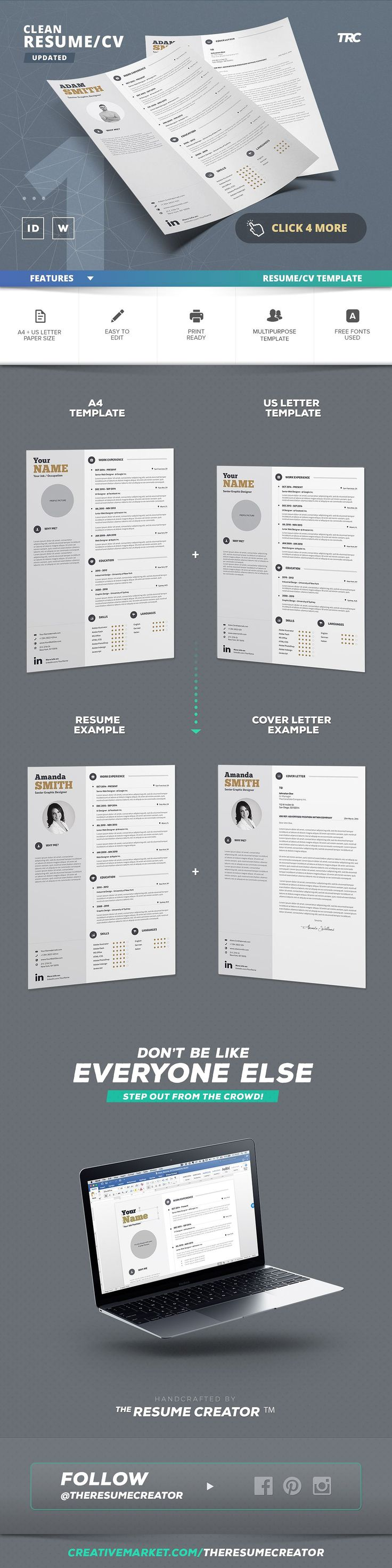 points to cover in a cover letter%0A Clean Resume Cv Template Volume   by TheResumeCreator on  creativemarket   resumecreator  theresumecreator