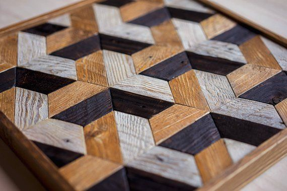 Euclide Geometric Wood Wall Art Reclaimed Wood Wall Art Wood