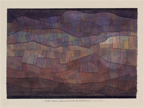 """Paul Klee 'Verlassene Kulturen' (Forgotten Cultures[my own attempt at translation g.s.]) 1924 Watercolor over pen and ink on paper laid on cardboard 6.1 x 8.8"""""""