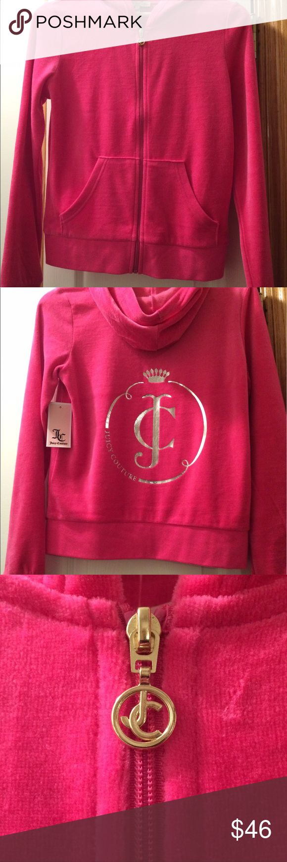 Juicy Couture pink zip up hoodie NWT detailed back Brand new! Pretty pink zip up with gold trim. Soft velour fabric . NWT smoke free & pet free. thanks for visiting gigishanger Juicy Couture Tops Sweatshirts & Hoodies