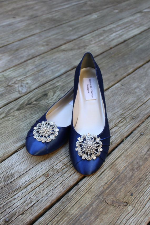 Dark Blue Wedding Flats Shoes Low By Thecrystalslipper 150 00
