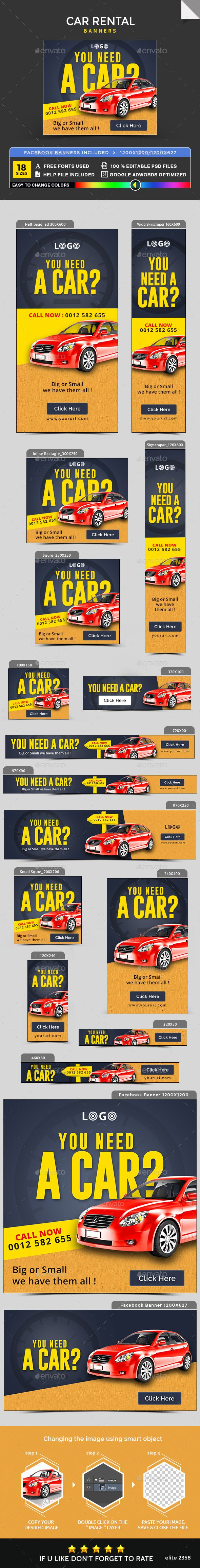 Car Rental Banners — Photoshop PSD #banner set #social media • Available here → https://graphicriver.net/item/car-rental-banners/20191842?ref=pxcr