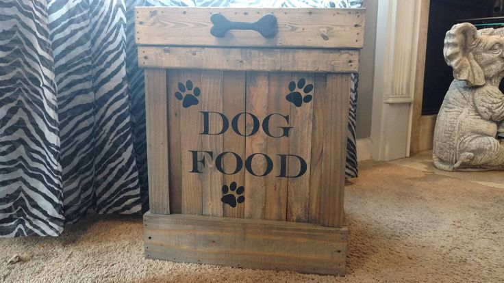 Dog Food Container- Pet Food Container- Dog Food Bin- Cute Dog Food Storage- Wood Pet Food Storage- Animal Food Storage- Wood Container- Pet by OurTwistedCreations on Etsy