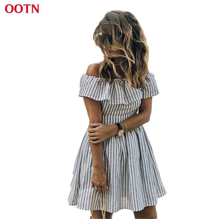 OOTN 6022 2017 new arrival off shoulder blue striped sundress women dress a-line strapless summer dresses ruffled open back