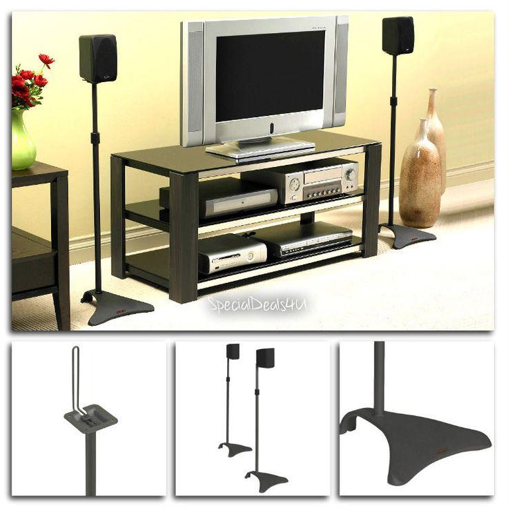 Pair Speaker Stands Surround Sound 2 PC Stand Satellite Home Theater Music Audio #Atlantic